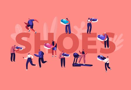 Shoes Concept. Sportsmen and Sportswomen Training in Gym and Walk Outdoors in Sport Sneakers