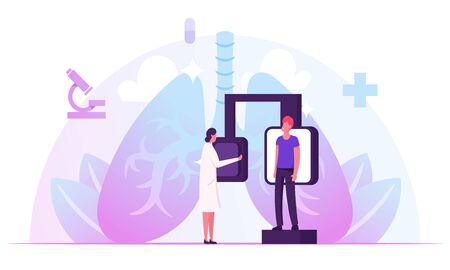Fluorographic Examination, X-ray Medical Diagnostics Checkup. Radiology Equipment for Patient Pulmonology Disease Doctor Research Pathology on Scan Image for Diagnosis Cartoon Flat Vector Illustration