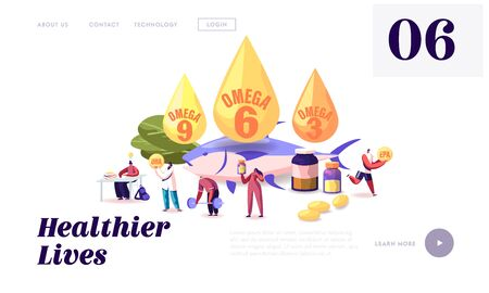 Omega Fats Website Landing Page. People Take Products and Vitamins with Polyunsaturated Fatty Acids