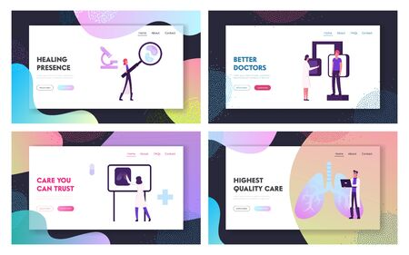 Pulmonology Diagnostics and Healthcare Website Landing Page Set. Patient Visiting Doctor for Making X-Ray Fluorography Scanning of Lungs in Clinic Web Page Banner. Cartoon Flat Vector Illustration Vettoriali