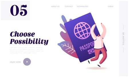 Tourist Get Visa and Passport for Traveling Abroad Website Landing Page. Happy Cheerful Man Rejoice with Hands Up, Immigrant Get Country Citizenship Web Page Banner. Cartoon Flat Vector Illustration Illustration