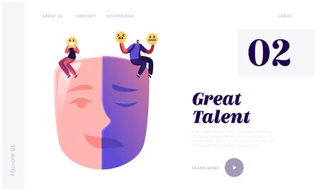 Hypocrisy Website Landing Page. Man and Woman Sitting on Huge Mask Separated on Opposite Emotions with Smiling and Sad Crying Parts. People Cover Face Web Page Banner. Cartoon Flat Vector Illustration Stock fotó - 137588622