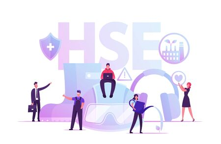 HSE Concept. Tiny Male and Female Characters and Attributes for Working. Environmental Protection and Health Safety Environment at Work Poster Banner Flyer Brochure. Cartoon Flat Vector Illustration