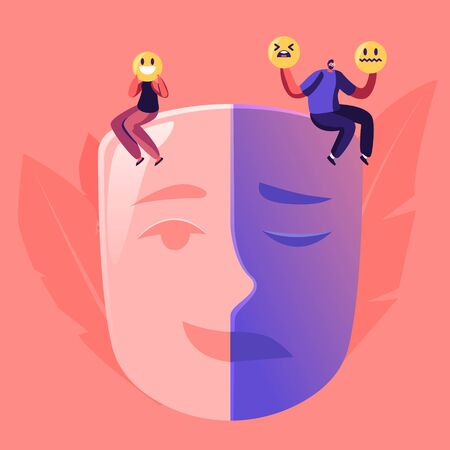 Man and Woman Sitting on Huge Mask Separated on Opposite Emotions with Smiling and Sad Crying Parts. Male Female Characters Cover Face with Smiles. Hypocrisy Concept Cartoon Flat Vector Illustration Stock fotó - 137586503