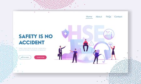 HSE Website Landing Page. Tiny Male and Female Characters and Attributes for Working. Environmental Protection and Health Safety Environment at Work Web Page Banner. Cartoon Flat Vector Illustration