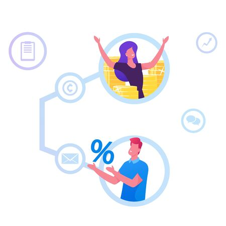 Referral Program, Affiliate Marketing, Online Business Concept. Invite Friends Earn Prize and Off. Cheerful Woman Rejoice at Money Connected with Man Hold Percent Sign Cartoon Flat Vector Illustration