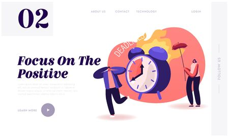Positive Negative Thinking Website Landing Page. Man Suffering of Deadline, Woman Getting Benefit from Situation Frying Sausage on Burning Alarm Clock Web Page Banner. Cartoon Flat Vector Illustration Illusztráció