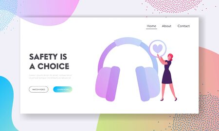 Hse Website Landing Page. Woman Holding Heart Icon in Hands Stand near Huge Headset for Workers Ears Protection on Factory. Health Safety Environment Web Page Banner. Cartoon Flat Vector Illustration Foto de archivo - 137588745