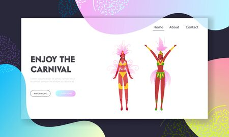 Brazilian Culture, Carnival in Rio De Janeiro Website Landing Page. Samba Dancer Women Wearing Festival Costume with Colorful Feather Peacock Tail Web Page Banner. Cartoon Flat Vector Illustration