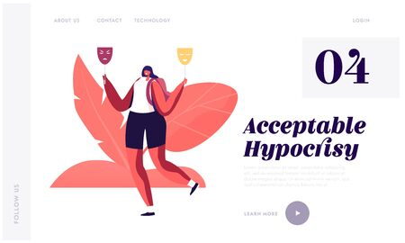 Hypocrisy, Fraud, Lie and Insincerity Website Landing Page. Young Woman Hold Two Masks in Hands Expressing Opposite Emotions Sadness and Happiness Web Page Banner. Cartoon Flat Vector Illustration