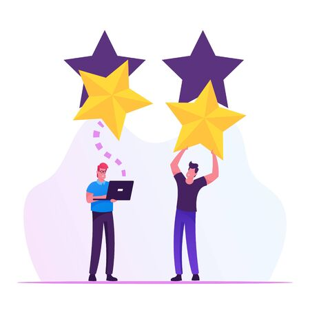 Ranking Evaluation and Classification Concept. Businessmen Click on Golden Stars to Increase Rating. People Give Review and Feedback for Services in Mobile App. Cartoon Flat Vector Illustration