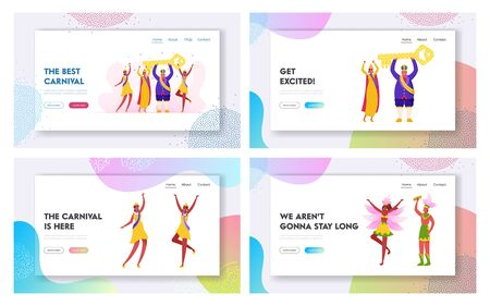 Samba Dancers and King Performing on Rio Carnival Website Landing Page Set. Man Wearing Festive Royal Dressing and Crown and Women with Winner Ribbons Web Page Banner. Cartoon Flat Vector Illustration