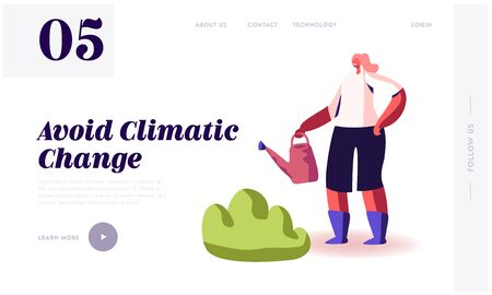 Global Warming, Environment Pollution, Global Heating Impact Website Landing Page. Woman Watering and Care of Green Plants to Avoid Climatic Changes Web Page Banner. Cartoon Flat Vector Illustration