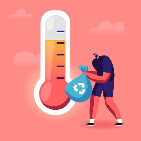 Man Carry Garbage Bag with Recycle Sign Passing Huge Thermometer Showing High Temperature. Environment Nature Pollution, Global Warming, Recycling Technology Concept Cartoon Flat Vector Illustration Standard-Bild - 137588007