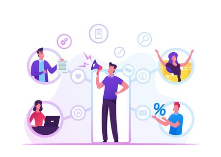 Referral Program Business Concept. Salesman Shouting to Megaphone Attracting Audience to Refer Friends. People Connected with Internet and Relationship Network, Cartoon Flat Vector Illustration