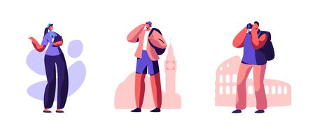 Set Male Tourist Characters Visit Sightseeing with Female Guide, Making Pictures on Photo Camera. Foreign Journey, Travel Agency Service, Traveling People on Excursion Cartoon Flat Vector Illustration 일러스트