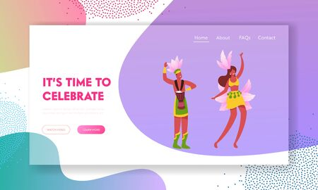 Rio Carnival with Entertainment Show Program Website Landing Page. Excited Drummer Playing Drums, Beautiful Girl in Feather Dress Dancing Samba Web Page Banner. Cartoon Flat Vector Illustration Çizim