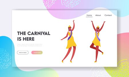 Brazilian Samba Dancer, Miss Beauty Website Landing Page. Women Wear Festival Dresses, Crowns and Shoulder Ribbon Dancing at Carnival in Rio De Janeiro Web Page Banner Cartoon Flat Vector Illustration 向量圖像