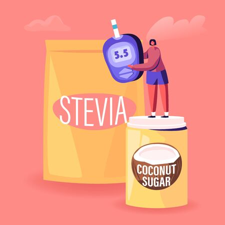 Tiny Female Character Stand on Coconut Sugar Box near Stevia Package Holding Blood Glucose Meter Showing Good Healthy Indicator. Natural Sweeteners for Diabetic People Cartoon Flat Vector Illustration Illusztráció