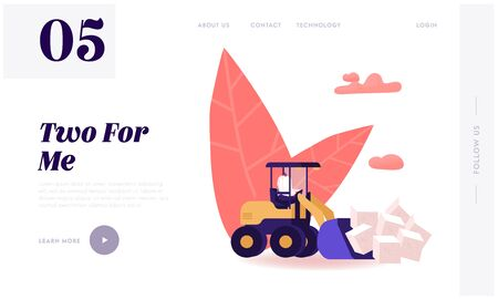 People Conducting Healthy Lifestyle Use Sweeteners Website Landing Page. Man Loading Huge Cubes of White Sugar with Excavator Remove Unhealthy Product Web Page Banner. Cartoon Flat Vector Illustration