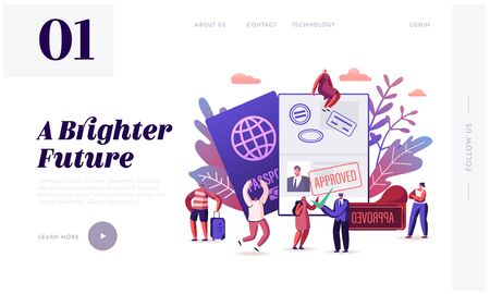 People Getting Visa Website Landing Page. Travelers and Tourists Making Document for Leaving Country and Travel Abroad. Foreign and Native Passport Web Page Banner. Cartoon Flat Vector Illustration