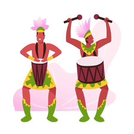 Rio Carnival Musicians in Feather Clothing on White Background. Young Men Playing Drums during Traditional Festival in Brazil. Artists with Percussion Instruments Cartoon Flat Vector Illustration