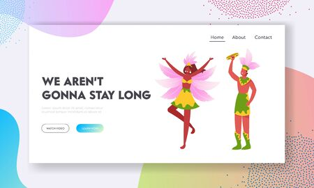 Rio Carnival Artists on Traditional Folk Festival Website Landing Page. Brazilian Tambourine Player and Girl Dancer at Culture Performance with Drum Web Page Banner. Cartoon Flat Vector Illustration Çizim