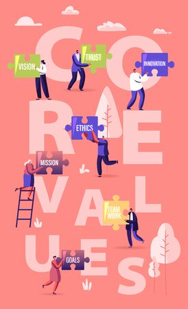 Core Values Concept. Tiny Male and Female Characters Businesspeople Holding Huge Puzzle Pieces with Basic Social and Business Principles Poster Banner Flyer Brochure. Cartoon Flat Vector Illustration Vektoros illusztráció