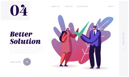 Visa Approval and Traveling Website Landing Page. Passport Control Worker in Uniform Giving Huge Green Check Mark to Woman Tourist with Backpack Web Page Banner. Cartoon Flat Vector Illustration