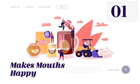 People Eating Natural Sweeteners Website Landing Page. Tiny Characters Remove White Sugar from Nutrition and Use Honey, Coconut Extract and Stevia Eco Web Page Banner. Cartoon Flat Vector Illustration Illustration