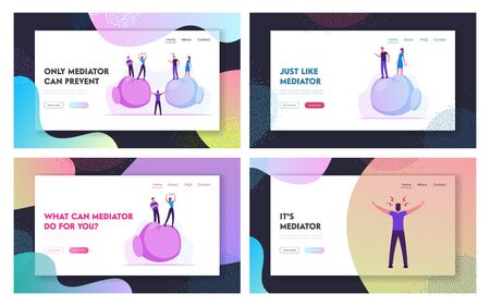 Confrontation at Work between Colleagues Website Landing Page Set. Man Mediator or Peacemaker Trying to Stop Fight. People Stand on Huge Boxing Gloves Web Page Banner. Cartoon Flat Vector Illustration