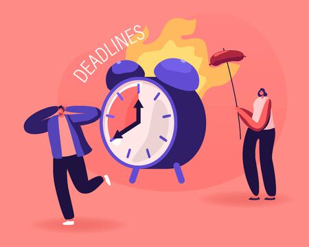 Positive Negative Thinking Concept. Frustrated Business Man Suffering of Deadline, Smiling Woman Getting Benefit from Situation Frying Sausage on Burning Alarm Clock. Cartoon Flat Vector Illustration