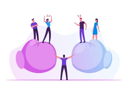 People Arguing and Yelling to Each Other Standing on Huge Boxing Gloves with Mediator Person in Center Trying to Stop Aggressive Verbal Fight, Conflict Confrontation Cartoon Flat Vector Illustration Stock Illustratie