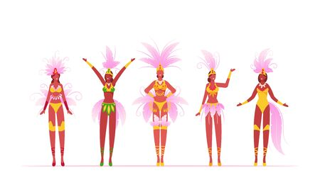 Brazilian Samba Dancers Women Isolated on White Background, Brazil Culture, Carnival in Rio De Janeiro, Girls Wearing Festival Costumes with Feather Wings Dancing Cartoon Flat Vector Illustration Çizim