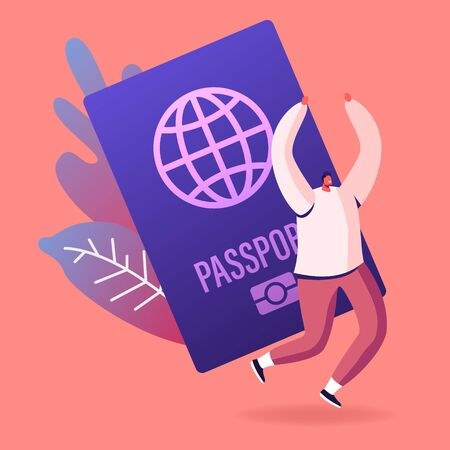 Happy Cheerful Man Rejoice with Hands Up near Huge Foreign or Native Passport. Tourist Getting Visa Permission for Traveling Abroad, Immigrant Get Country Citizenship Cartoon Flat Vector Illustration