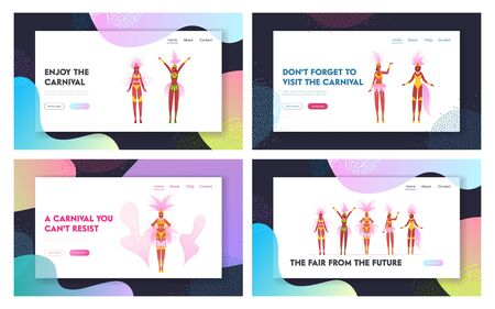 Samba Dancer Women Wearing Festival Costumes Website Landing Page Set. Girls Performing at Carnival in Rio De Janeiro in Brazil, World Culture Event Web Page Banner. Cartoon Flat Vector Illustration