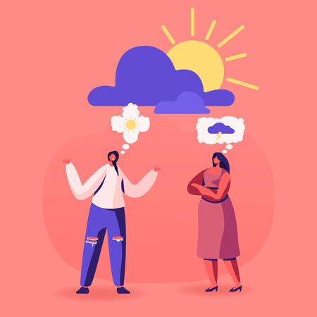 Couple of Women Discussing to Each Other Having Different Point of View and Life Attitudes. Pessimist and Optimist Girl Friends Communicate with Sun and Cloud Thoughts Cartoon Flat Vector Illustration