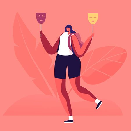 Hypocrisy, Fraud, Lie and Insincerity Concept. Young Woman Hold Two Masks in Hands Expressing Opposite Emotions Sadness and Happiness Hypocrite Girl Hide Real Feelings Cartoon Flat Vector Illustration