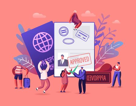 People Getting Visa Concept. Travelers and Tourists Making Document for Leaving Country and Travel Abroad. Foreign and Native Passport, Traveling Immigration Stamp, Cartoon Flat Vector Illustration