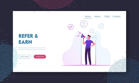 Referral Program, Blogging or Social Media Networking Website Landing Page. Man with Megaphone in Hands Stand at Smartphone Screen Give Announcement Web Page Banner. Cartoon Flat Vector Illustration