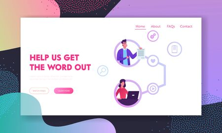 Referral Program Strategy, Network Marketing, Affiliate Partnership Website Landing Page. Businesspeople Connected as Referring Friends and Partners Web Page Banner. Cartoon Flat Vector Illustration