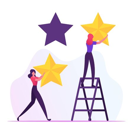 Rating, Quality and Business Ranking Concept. Woman Standing on Ladder Put Golden Stars into Holes. Client Review, Customer Service Feedback or Satisfaction Level Cartoon Flat Vector Illustration 向量圖像