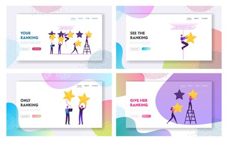 Clients Evaluate Service Using Internet Technology Website Landing Page Set. Customers Vote Put Golden Stars in Mobile App. Feedback and Satisfaction Web Page Banner. Cartoon Flat Vector Illustration