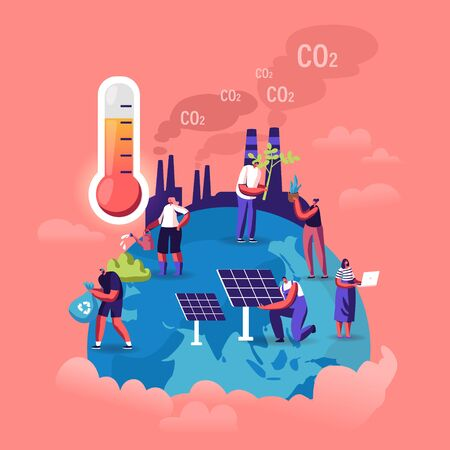 Global Warming Concept. Tiny Characters Care of Plants on Earth, Factory Pipes Emitting Smoke, Thermometer Show High Temperature. Dust Air Pollution, Co2 Gas Emission Cartoon Flat Vector Illustration 向量圖像