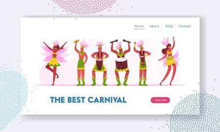 Rio Carnival Musicians Band and Girls Dancers Website Landing Page. Young Men Artists Playing Drums, Women Dance during Traditional Festival in Brazil Web Page Banner. Cartoon Flat Vector Illustration Çizim
