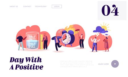 Positive and Negative Thinking Pessimist and Optimist People Website Landing Page. Half Full or Empty Glass with Water, Bad or Good Weather, Deadline Web Page Banner. Cartoon Flat Vector Illustration Illustration