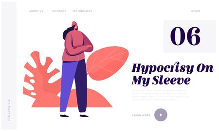 Hypocrisy Website Landing Page. Young Fashionable Woman Stand with Crossed Arms. Youth Fashion and Lifestyle. Girl in Ling Sleeve Shirt, Pants and Hat Web Page Banner. Cartoon Flat Vector Illustration Foto de archivo - 137700266
