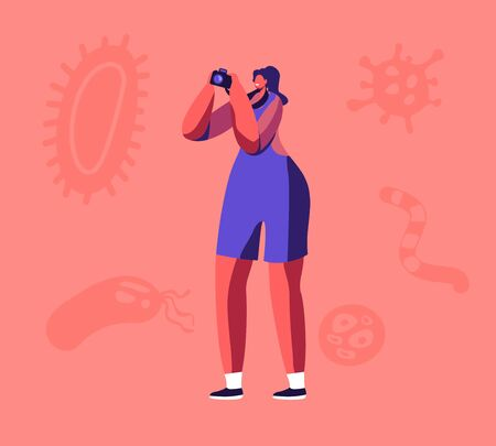 Smiling Woman with Photo Camera Making Pictures of Various Huge Microbes, Viruses and Bacteria Flying around. Bacteriology Science, Antibacterial Therapy, Vaccination Cartoon Flat Vector Illustration