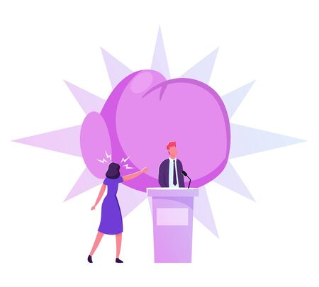 Politics Debate, Voting and Election Concept. Pre-election, Promotion and Advertising Campaign. Candidate Debating on Tribune to Audience, Active Political Discussion Cartoon Flat Vector Illustration Ilustrace