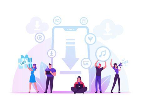 Concept de téléchargement gratuit. Personnages autour d'énormes transferts de smartphones et partage de fichiers à l'aide des services de serveurs Torrent. Achats de médias en ligne, illustration vectorielle plane de style de vie des gens modernes